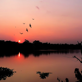 Dusk by Gautam Barik - Novices Only Landscapes ( water, nature, sunset, evening, colours, river )