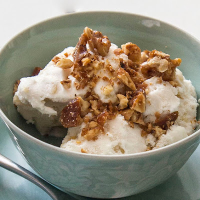 Sweet Corn and Chipotle Chili Ice Cream with Walnut Chili Brittle