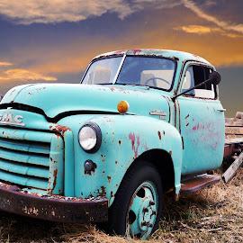 GMC Truck by Joerg Schlagheck - Transportation Automobiles ( old, twowheelsandacamera., truck, blue, gmc, rusty,  )
