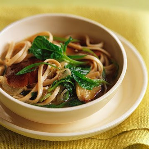 Udon Noodles with Shiitake Mushrooms in Ginger Broth