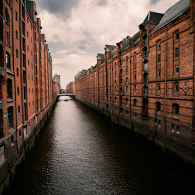 ANOTHER SIDE OF HAMBURG by Frank Photography - Buildings & Architecture Public & Historical ( speicherstadt, houses, romantic, historical, trading, hamburg, river, waterway, photographers, taking a photo, photographing, photographers taking a photo, snapping a shot )