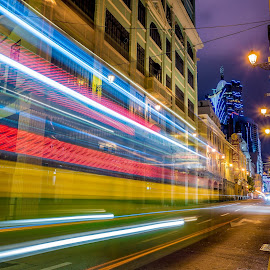 Speed of light by Eloa Defly - City,  Street & Park  Night ( macao, light trail, asia, macau, long exposure, casino, lisboa )