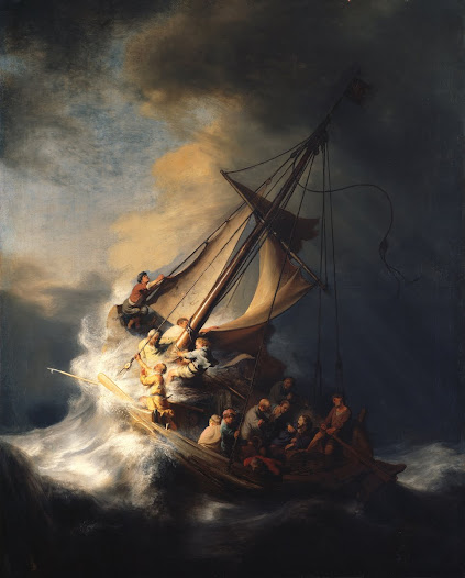 "<i>Christ in the Storm on the Sea of Galilee</i> is Rembrandt's only known seascape.  ""Your description of the sea picture makes me fairly ache for it!"" Gardner wrote in a letter to Berenson.  The figure at bottom looking out from the painting is thought to be Rembrandt himself."