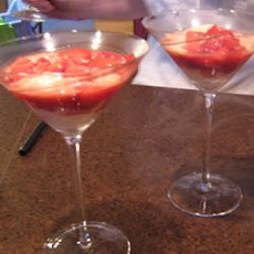 Strawberries Flambeed in Vodka with Hot Ice Cream