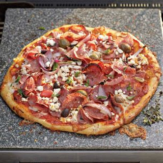 Grilled Pizza with Salami, Olives and Goat Cheese