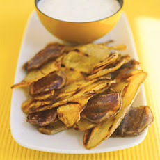 Grilled Potato Chips With Chive Dip