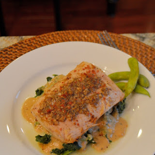Garlic Peppercorn Crusted Mahimahi with Sherry Blue Cheese Cream Sauce