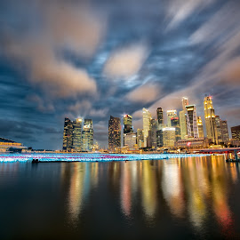 Singapore Nightscape by Dipanjan Bhattacharya - City,  Street & Park  Skylines ( cloud formations, cloudscape, architecture, cityscape, singapore, nightscape )
