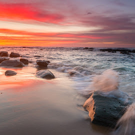 Sunrise at Bateau Bay by Andrew Murrell - Landscapes Sunsets & Sunrises ( water, seascape, sunrise, landscape,  )