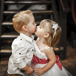 Loving Childhood by Irwan Budiarto - Babies & Children Child Portraits ( love, child, kiss, girl, boy,  )