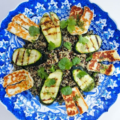 Quinoa, Puy Lentil and Halloumi Salad with Courgette