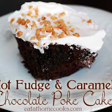 Hot Fudge and Caramel Chocolate Poke Cake