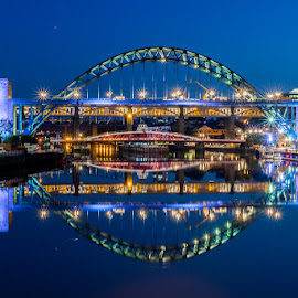 bridge reflection by Gary Cherry - Buildings & Architecture Bridges & Suspended Structures ( water, reflection, newcastle, bridge, river )