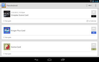 Screenshot of PassAndroid Passbook viewer