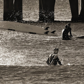 Surfboard's Up by Jose Matutina - Sports & Fitness Surfing ( b&w, surfing, surfboard, huntington beach,  )