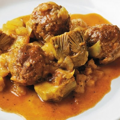 Braised Goat Meatballs with Artichokes and Fennel