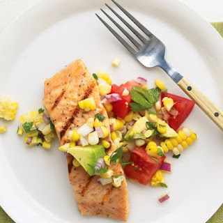 Salmon with Sweet Corn, Tomato, and Avocado Relish