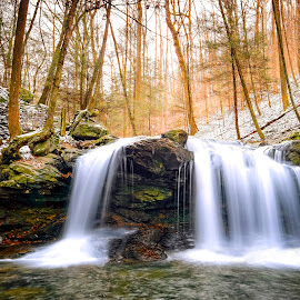 Debord Falls by Trent Eades - Landscapes Waterscapes ( stream, winter, waterfalls, debord falls, creek, forest )