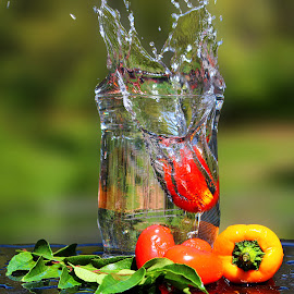 by Dipali S - Food & Drink Fruits & Vegetables ( water, cherry, peppers, splash, fresh, leaves, vegetable, tomatoes, curry )