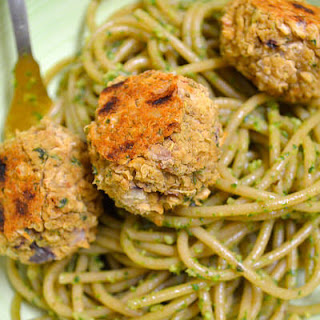 Spaghetti With White Bean Quinoa Balls And Arugula Pesto