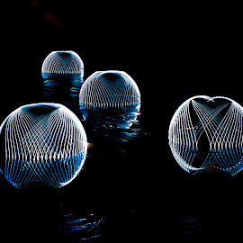 Alien Hovercraft by Lennon Fletcher - Digital Art Abstract ( reflections, abstract lines, domes, light, light globes )