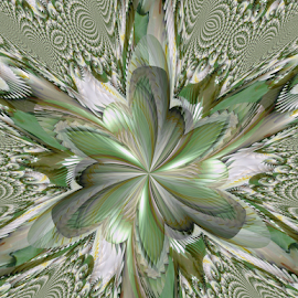 FWLK 5 by Tina Dare - Digital Art Abstract ( abstract, greens, patterns, designs, distorted, burst, curves, spokes, shapes )