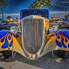 Blue Flames by Ron Meyers - Transportation Automobiles