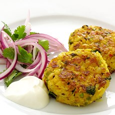 Chickpea, Chilli and Coriander Cakes with Marinated Red Onion Salad