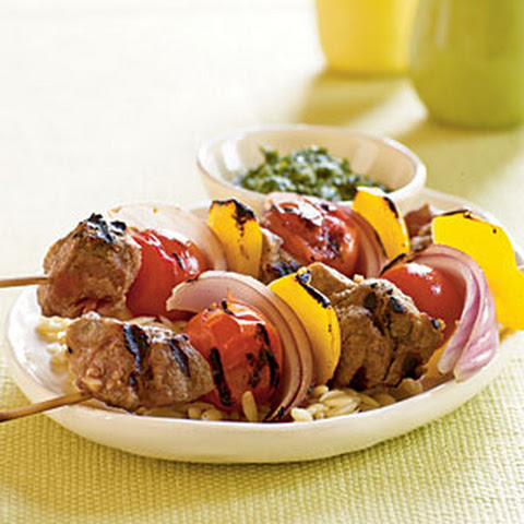 Spiced Lamb and Vegetable Kebabs with Cilantro-Mint Sauce