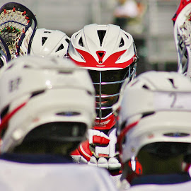 Focus by Alvin Simpson - Sports & Fitness Lacrosse ( stick, red, white, focus, helmet, boy, eye )