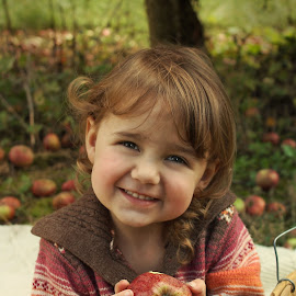 Apple Smiles by Kitty Schaub - Babies & Children Child Portraits ( girl, orchard, apples, toddler, smile, apple picking )
