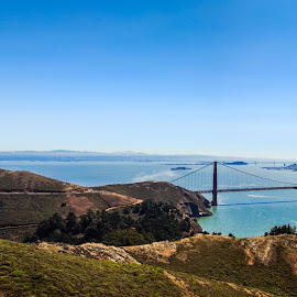 Panoramic of the Golden Gate Bridge by Troy Snider - Buildings & Architecture Bridges & Suspended Structures ( water, expansive, bay, golden gate, bridge, san francisco )