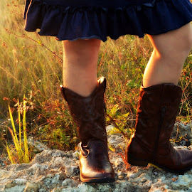 by Erin Nealeigh - People Family ( #cowboyboots #sunset #field #kids #shoes,  )