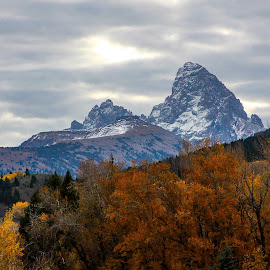 Grand Rising Above Fall by Chad Roberts - Landscapes Mountains & Hills ( clouds, high mountain, table mountain, colors, snow, fall, grand teton )