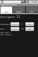 Screenshot of Goalie Stats Tracker