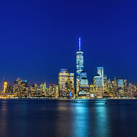 City of Lights by Avinash Jain - Landscapes Travel ( skyline, long exposure, manhattan, new york, jersey city )