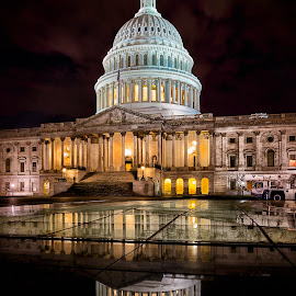 The Capitol by Ferdinand Ludo - Buildings & Architecture Architectural Detail ( cold night, washington dc, taken at night,  )