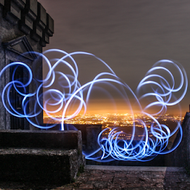 Light Painting On  Top by Bruno Biscaia - Abstract Light Painting ( light painting, sintra, night, portugal )