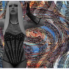 Lost by Joerg Schlagheck - Digital Art Abstract ( lost, turtleneck, woman, spacecadett, weird, space, nose, live )