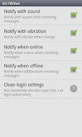 Screenshot of GO SMS Pro FBChat plug-in