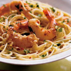 Sauteed Shrimp With Lemon Caper Cream Sauce on Angel Hair Pasta
