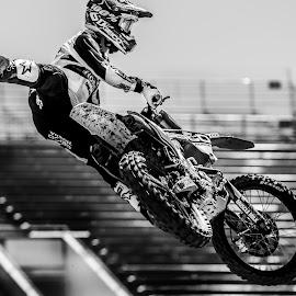 Justin Bogle by Josh Rud - Sports & Fitness Motorsports ( big air, honda, motocross, racing, black an white, bogle, fmx, motorcycle, high contrast, whip, supercross )