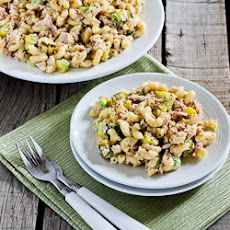 Tuna and Macaroni Salad Recipe with Dill Pickles, Capers, and Green Onions