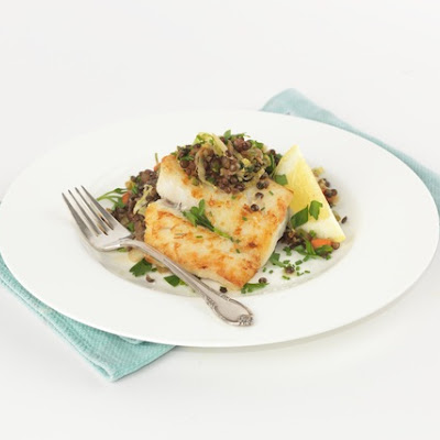 Seared Hake with Warm Lentil Salad