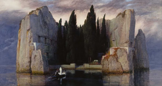 "The Isle of the Dead is an oil on wood painting by Arnold Böcklin that was commissioned in 1883. The painting consists of radial symmetry. In the foreground there is a small boat in which two people, one sitting in black clothing and the other standing in a white hooded robe, about to come upon the ""Isle."" There are steps leading from beneath the sea and onto the Isle, which seems to be a large castle or similar structure that has been carved out of a giant marble monolith afloat in the sea. The steps welcome visitors to the isle and lead them into a cluster of tall evergreen trees that creat a dark void of seemingly endless depths. What lies within and beyond these trees is unknown but with a title such as ""The Isle of the Dead"" one can only imagine it might not be that nice in there. The painting cast a haunting and ominous picture that leaves the viewer in mystery."
