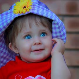 Cutie-pie by Elaine Els - Babies & Children Toddlers ( #baby, #blue eyes, #toddler, #happy, #children, path, nature, landscape )