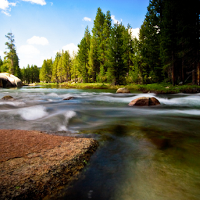 Rocks in the Stream by Joe Boyle - Landscapes Waterscapes ( shore, stream, jmt, rocks, river, john muir trail )