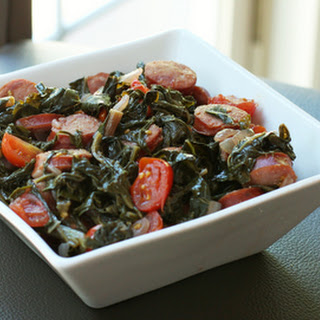 Spicy Kale and Mustard Greens With Sausage