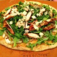 Grilled Chicken, Arugula, Blue Cheese Pizza