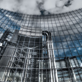 Willis Building Reflects Lloyds by Pete Lebow - Buildings & Architecture Office Buildings & Hotels ( clouds, reflection, sky, london, blue, glass, willis building, lloyds building )